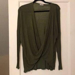 Army green wrap shirt